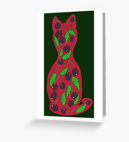 Cherries Puss Greeting Card