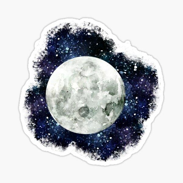 Moon - Star Gazer- Ink & Watercolor Galaxy Sticker