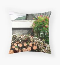 Logs'n Roses, Sligo, Donegal, Ireland Throw Pillow