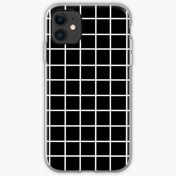 Black Tumblr Grid Pattern iPhone Soft Case