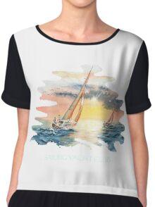 Sailing Yacht Club Blue Words Color Chiffon Top
