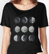 Moon Phases - Watercolor & Ink Women's Relaxed Fit T-Shirt