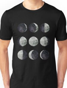 Moon Phases - Watercolor & Ink Unisex T-Shirt
