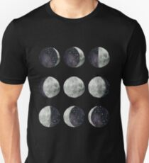 Moon Phases - Watercolor & Ink T-Shirt