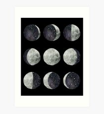 Moon Phases - Watercolor & Ink Art Print