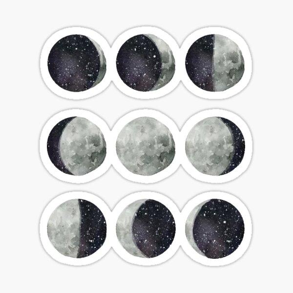 Moon Phases - Moon shirt - Moon dress - Moon sticker- Watercolor & Ink  Sticker