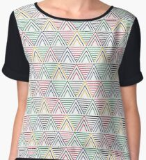 African Geometric Abstract - White Background Chiffon Top