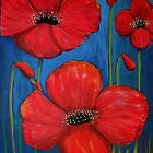 Red Poppies On Blue by Lee Owenby