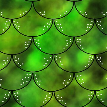 Mythical Green Dragon Scales Pattern by LuciaJade