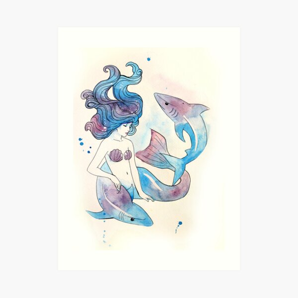 Blue Mermaid Art Print