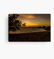 Sunset fishing on a remote beach Canvas Print
