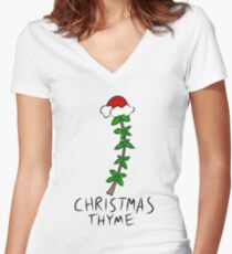 Christmas Thyme Women's Fitted V-Neck T-Shirt
