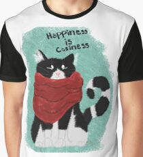 Happiness is Coziness Black and White Cat Graphic T-Shirt