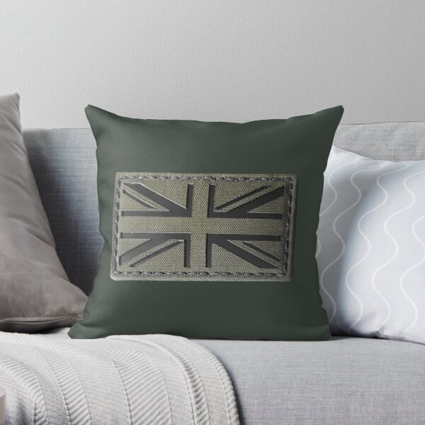 BRITISH ARMY. Union Jack Flag, Ranger Green, UK, Laser Cut, Tactical Morale Patch. Throw Pillow