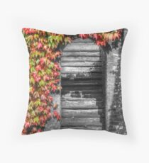 Stairway with autumn leaves Throw Pillow