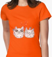 Cute love kittens. Illustration of colorful pencils. Womens Fitted T-Shirt