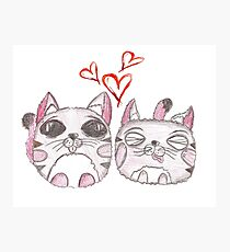 Cute love kittens. Illustration of colorful pencils. Photographic Print