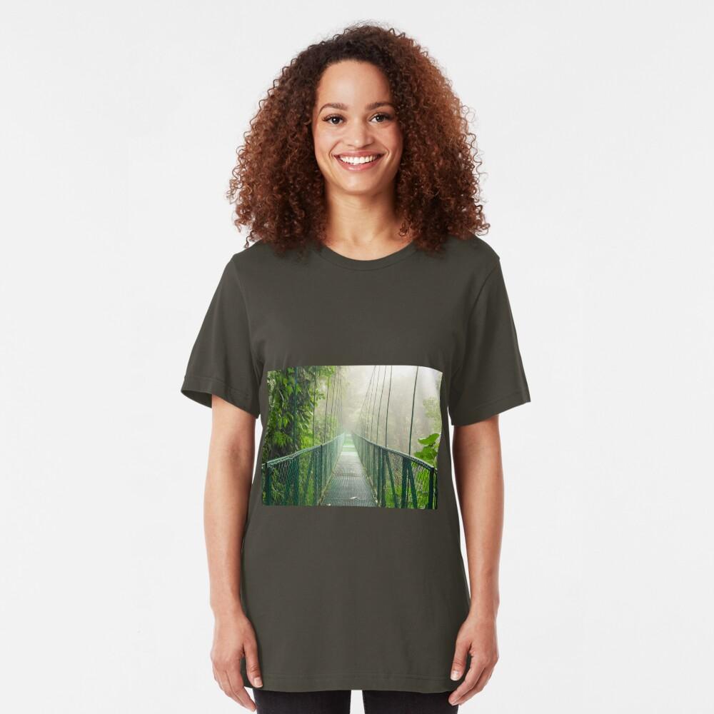 Suspension bridge in rainforest Slim Fit T-Shirt