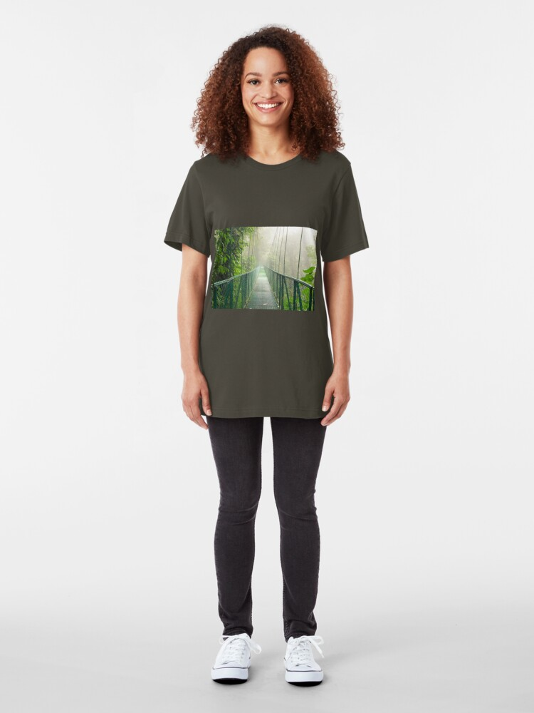 Alternate view of Suspension bridge in rainforest Slim Fit T-Shirt