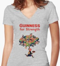Guinness Vintage Rugby Ad Women's Fitted V-Neck T-Shirt
