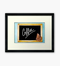 Chalk Board with White Text Coffee in Wooden Frame Framed Print