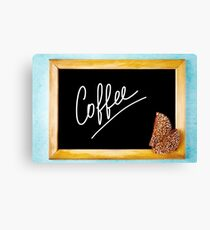 Chalk Board with White Text Coffee in Wooden Frame Canvas Print