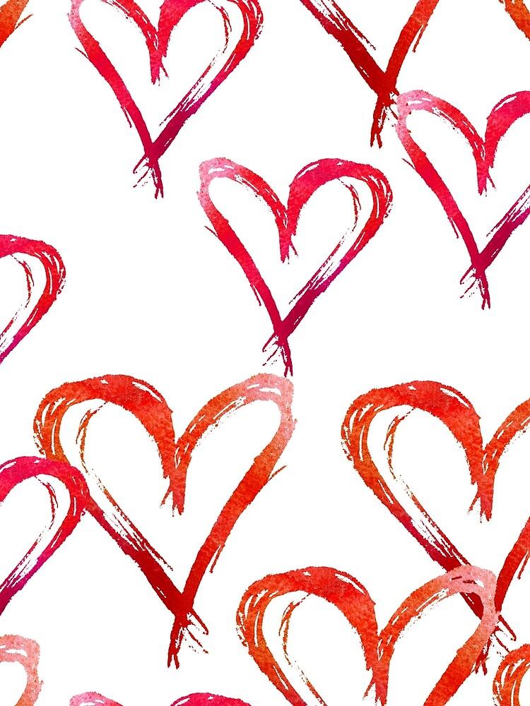 Hand drawn watercolor seamless pattern. Red hearts. by TrishaMcmillan