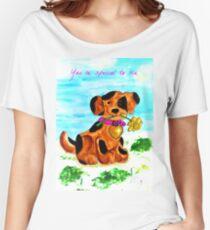 Cute little dog bringing a flower Women's Relaxed Fit T-Shirt
