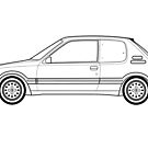 Peugeot 205 GTI Line drawing artwork by RJWautographics