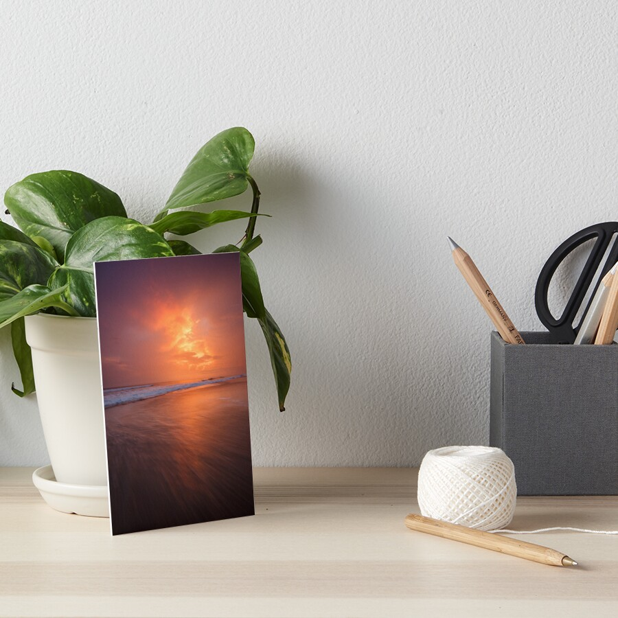 Sunset clouds and long wave Art Board Print