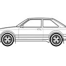 Ford Escort XR3i Line drawing artwork by RJWautographics