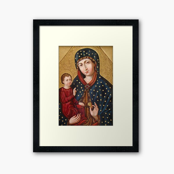 Polish Virgin Mary Poster, Madonna and Child Jesus, Holy icon, Catholic art Framed Art Print