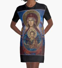 Our Lady Virgin Mary Theodokos with infant Jesus, Russian Byzantine icon Graphic T-Shirt Dress