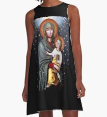 Our Lady of Fatima, Polish Madonna and Child, Virgin Mary, religious catholic icon A-Line Dress