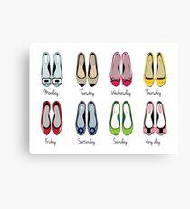 Flat Ballerina Shoes Week Calendar Canvas Print
