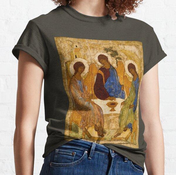 Holy Trinity Painting Rublev Trinity Print Icon Christian Religious Wall art Classic T-Shirt