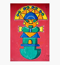 Stylized Maya graffiti on red wall in Banos, Ecuador Photographic Print