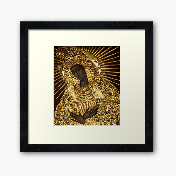 Black Madonna, Our Lady of Grace, Our Lady of the Gate of Dawn, Mother of Mercy Framed Art Print