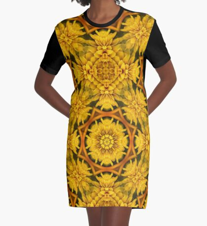 Yellow Flower Petals Abstract Pattern Graphic T-Shirt Dress