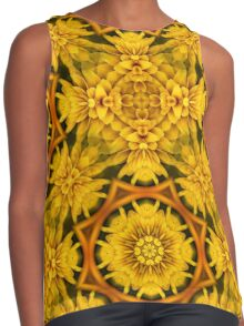 Yellow Flower Petals Abstract Pattern Contrast Tank