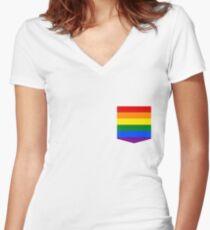 lgbt+ pride flag pocket Women's Fitted V-Neck T-Shirt
