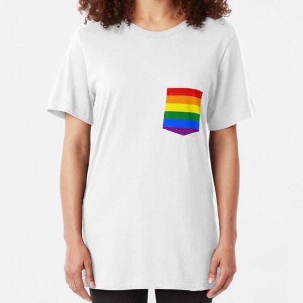 lgbt+ pride flag pocket Slim Fit T-Shirt