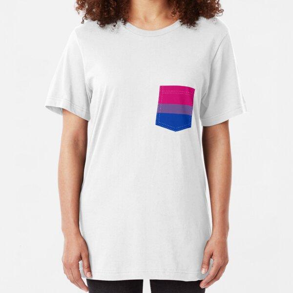 bisexual pride flag pocket Slim Fit T-Shirt