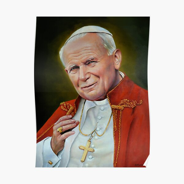 Pope John II, St. John Paul II Portrait, Religious Catholic wall art Poster