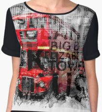 Graphic Art LONDON WESTMINSTER Buses | Typography Women's Chiffon Top