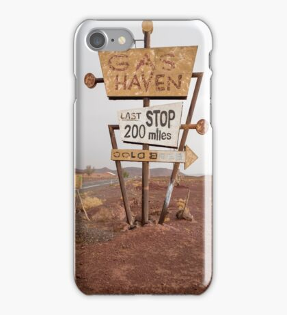 Tall vintage gas sign standing in the desert iPhone Case/Skin