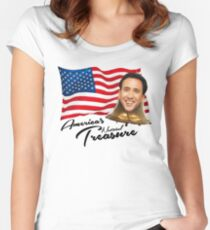 America's National Treasure - Black Text Women's Fitted Scoop T-Shirt