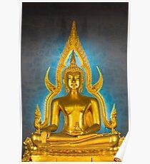 Illuminated golden Buddha inside a Thai temple Poster