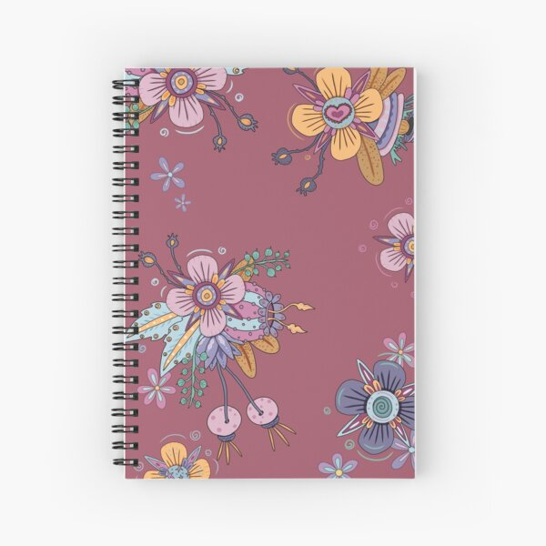 Colorful Flowers - Sunset Red Spiral Notebook