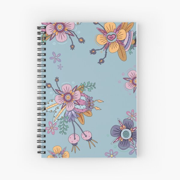 Colorful Flowers - Light Blue Spiral Notebook
